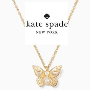 Kate Spade Gold Social Mini Butterfly Necklace NEW